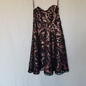 Betsey Johnson black lace strapless dress size 4